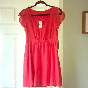 Express midi hot pink flowly dress